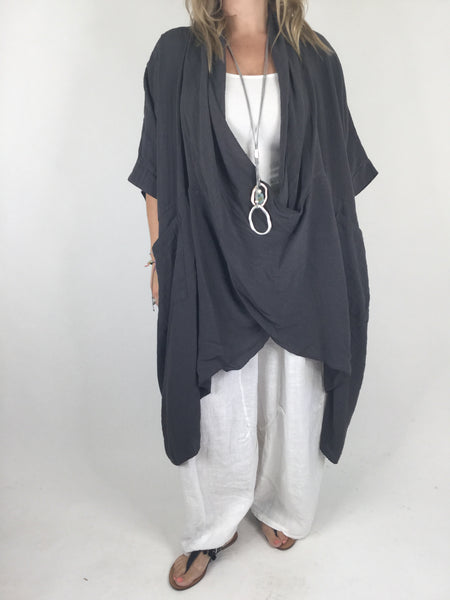Lagenlook Cotton Wrap Dress Top in Charcoal Grey. code 4990