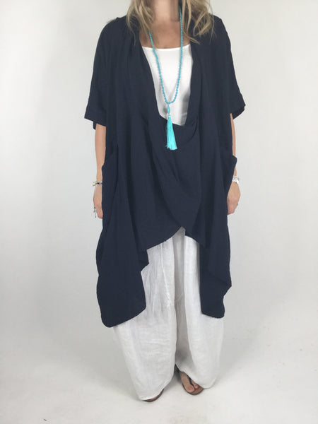 Lagenlook Cotton Wrap Dress Top in Navy. code 4990