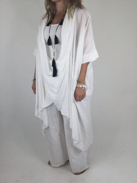 Lagenlook Cotton Wrap Dress Top in White. code 4990