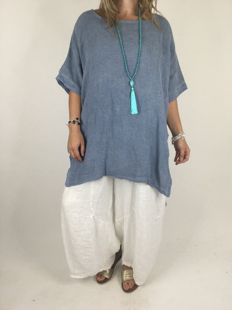 Lagenlook Roma Cheesecloth Tunic Top in Denim Blue. code 4432