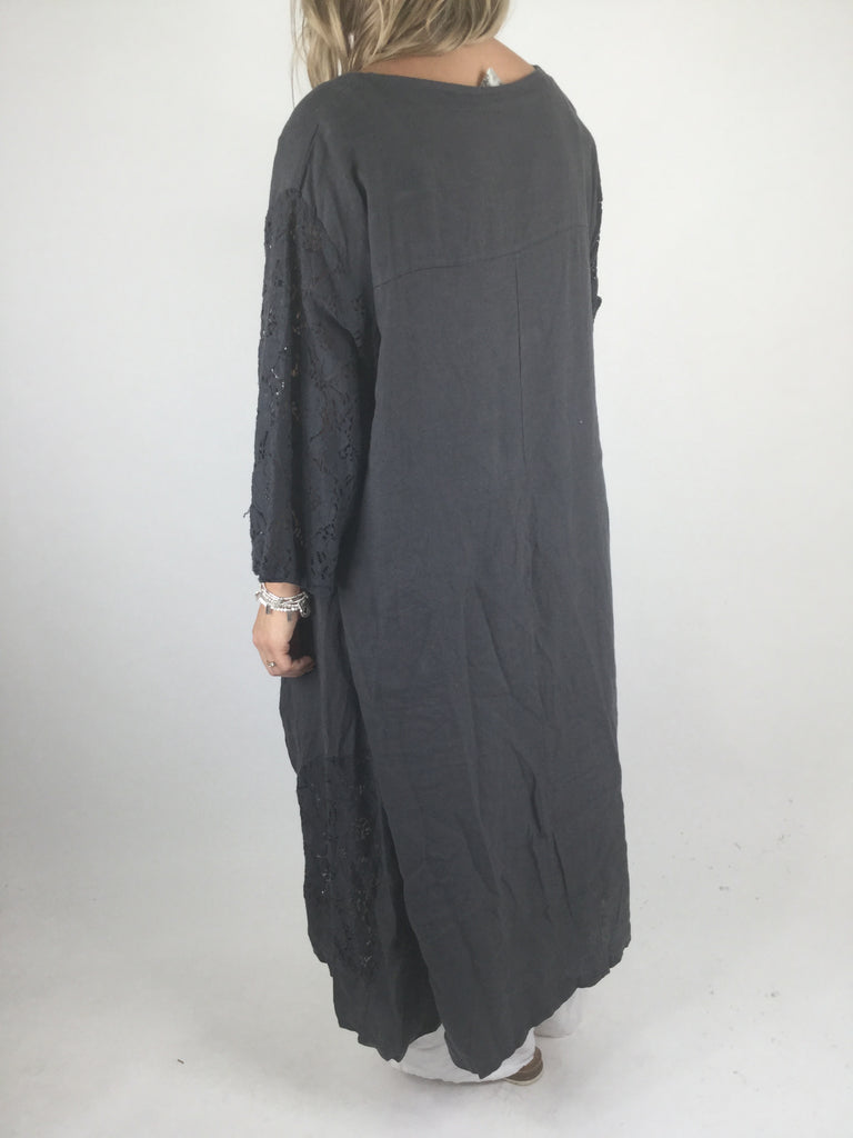 Lagenlook Pintuck Linen Tunic in Charcoal Grey . code 4288