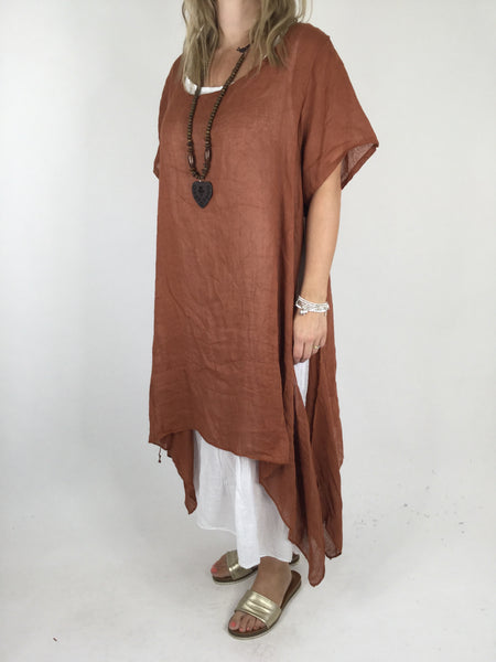 Lagenlook Audrey Necklace Double Layer Tunic in Rust. code 4276