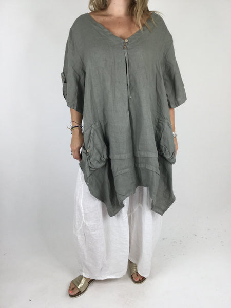 Lagenlook 3 button Linen Top in Khaki. code 5788