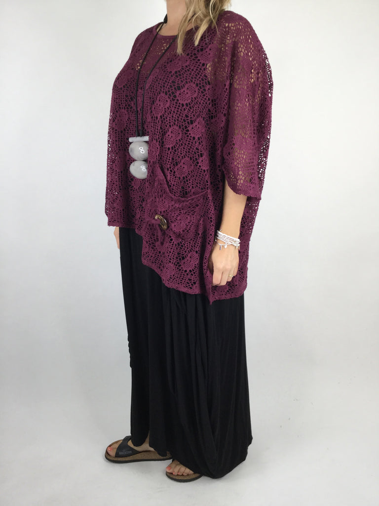 Lagenlook Summer Cotton Layering Marble Net Top in Wine. code 4671