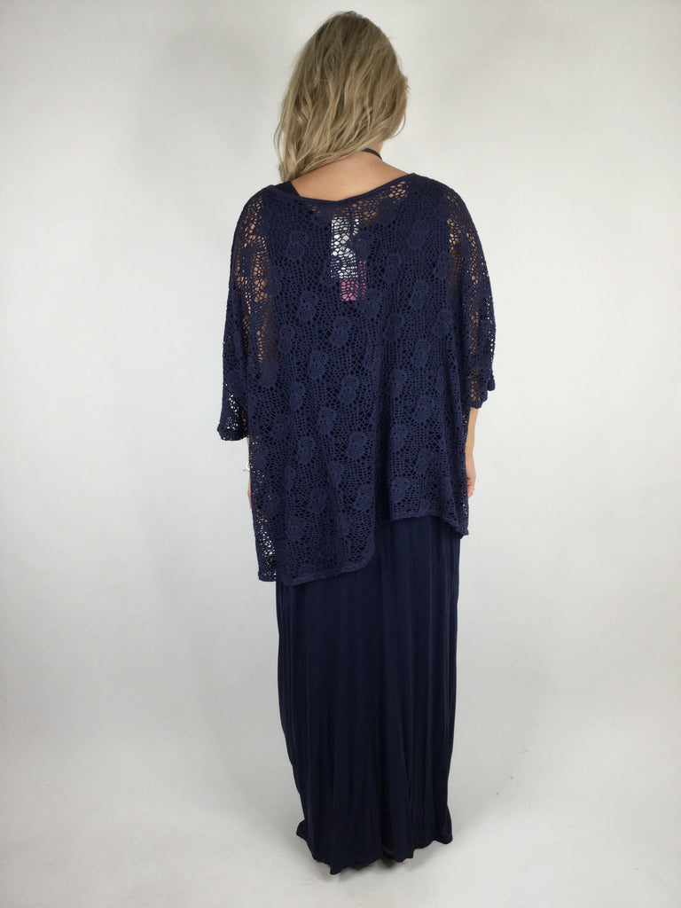 Lagenlook Summer Cotton Layering Marble Net Top in Navy. code 4671