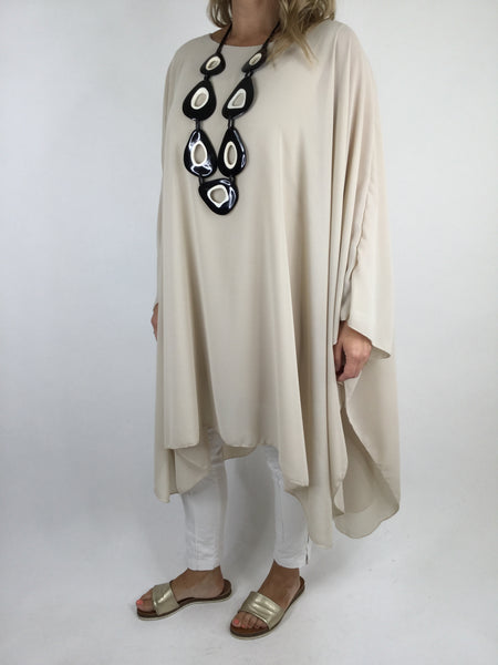 Lagenlook Float Oversized Poncho in Cream. code WS1121