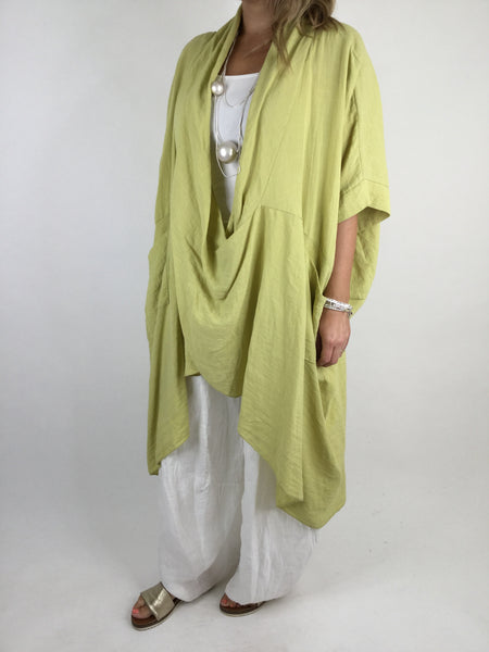 Lagenlook Cotton Wrap Dress Top in Lime. code 8307