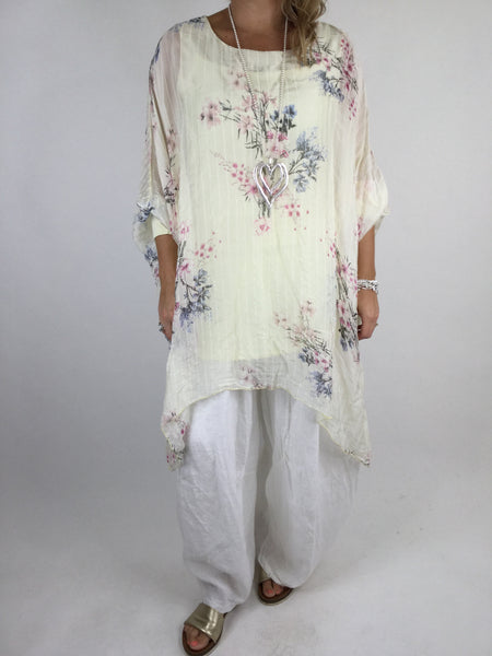 Lagenlook Stripe & flower Print Silk Tunic in Yellow. Code 1727