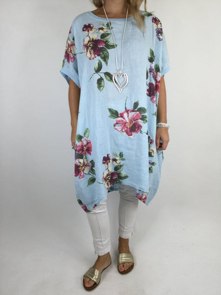Lagenlook Nikki Summer Flower Tunic in Sky Blue. code 9618