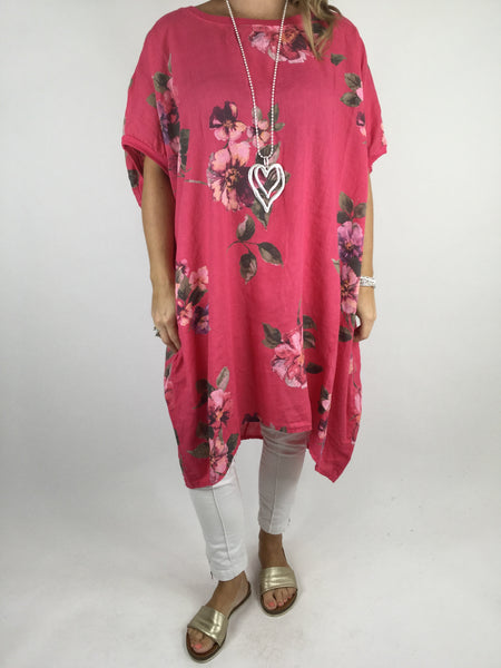 Lagenlook Nikki Summer Flower Tunic in Hot Pink. code 9618