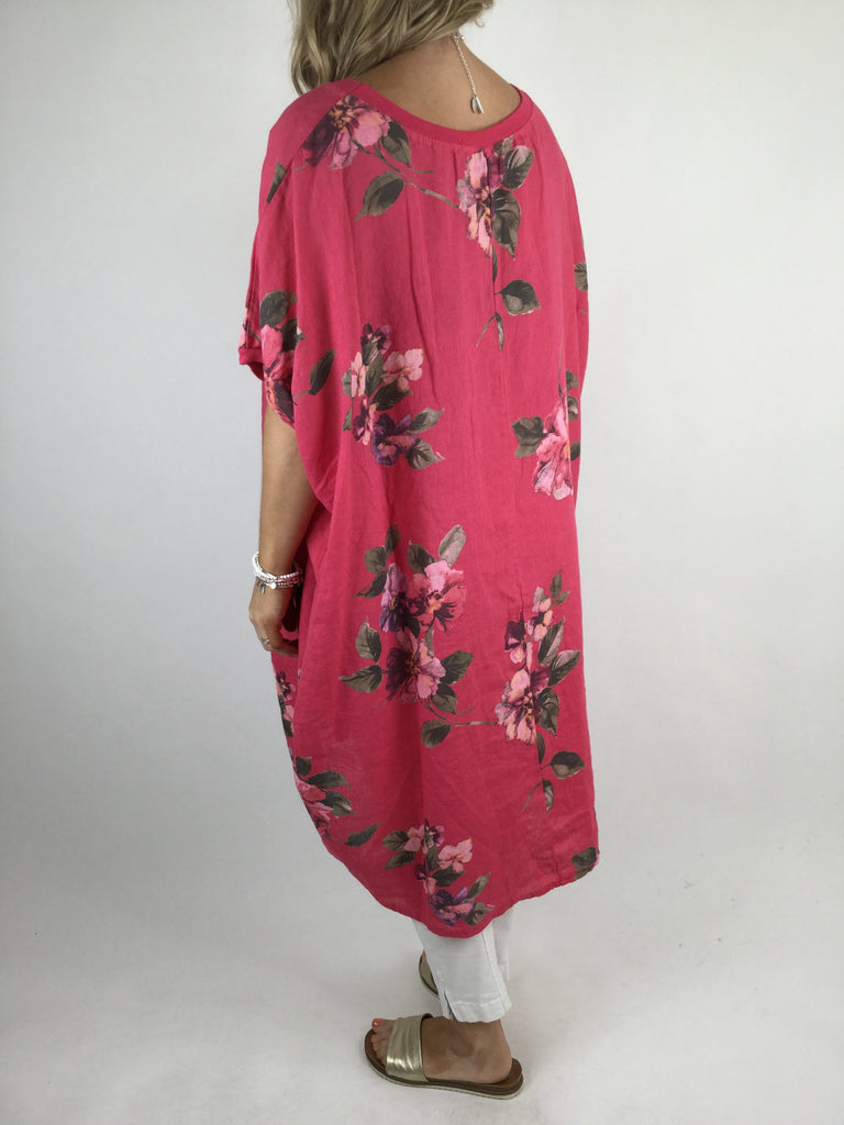 Lagenlook Nikki Summer Flower Tunic in Hot Pink. code 9618 - Lagenlook Clothing UK