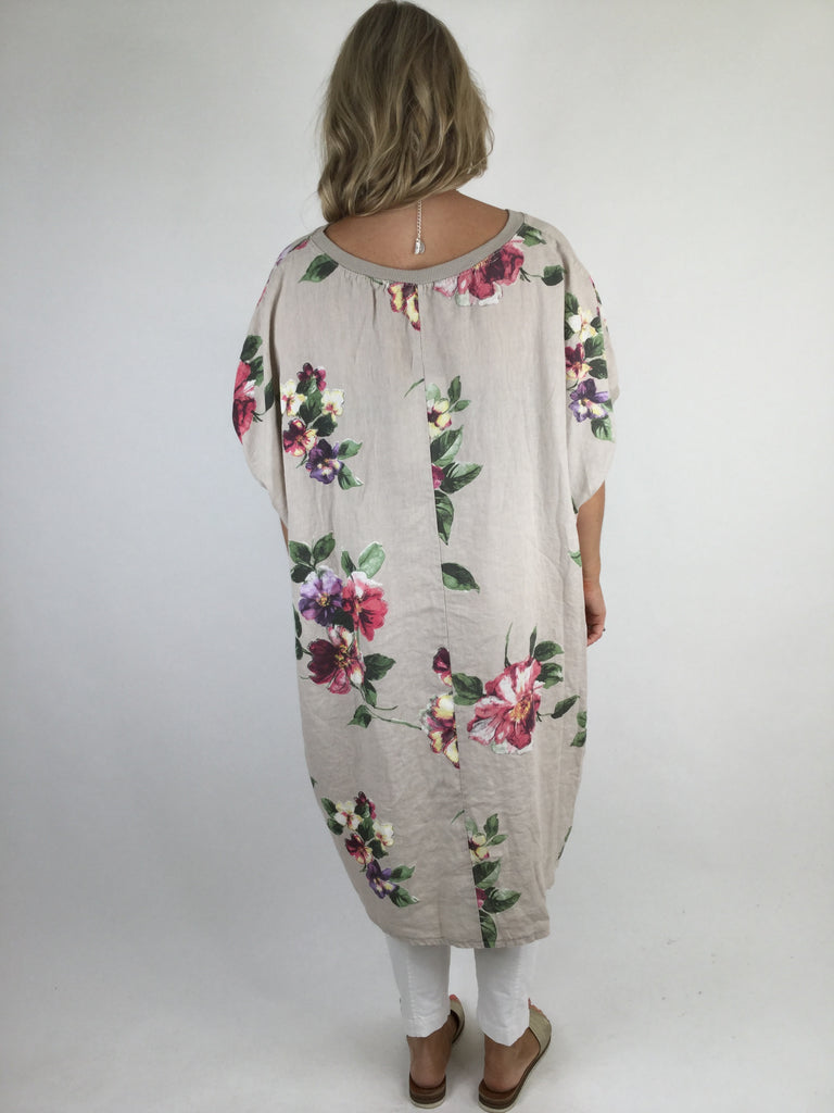Lagenlook Nikki Summer Flower Tunic in Beige. code WSF9015