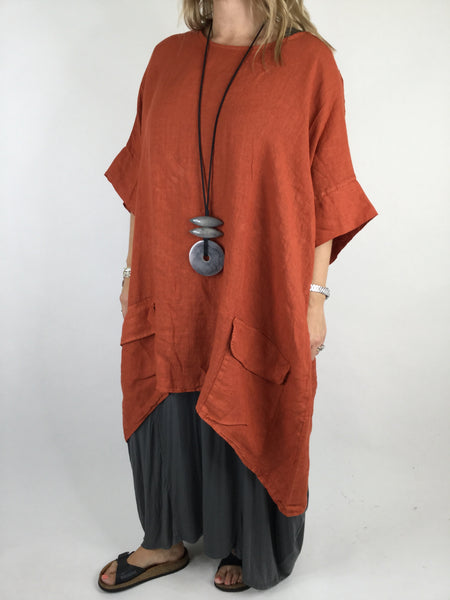 Lagenlook Linen Pocket Poncho in Rust. code WS2733