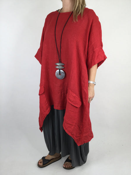 Lagenlook Linen Pocket Poncho in Red. code WS2733