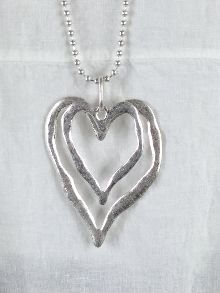 Lagenlook Silver hearts on Chain Necklace . code SKN1157