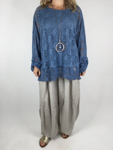 Lagenlook 2 Piece Lace& Net top in Denim Blue. Code 4679