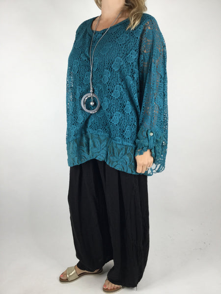 Lagenlook 2 Piece Lace& Net top in Teal. Code 4679
