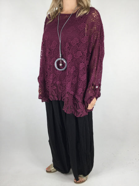Lagenlook 2 Piece Lace& Net top in Wine. Code 4679