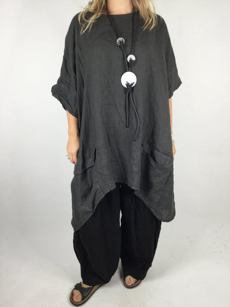 Lagenlook Linen Pocket Poncho in Charcoal Grey. code WS2733