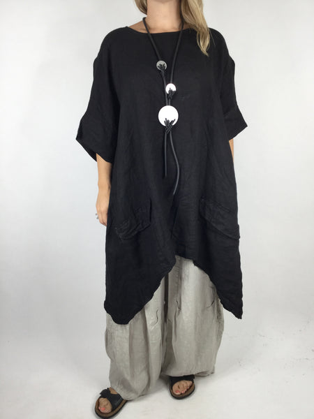 Lagenlook Linen Pocket Poncho in Black. code WS2733