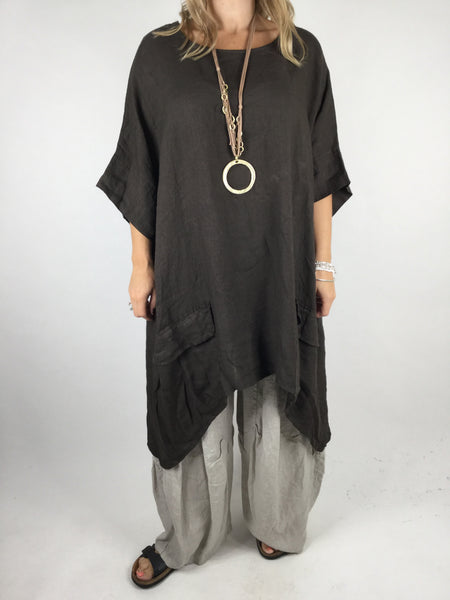 Lagenlook Linen Pocket Poncho in Chocolate. code WS2733