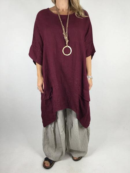 Lagenlook Linen Pocket Poncho in Wine. code WS2733
