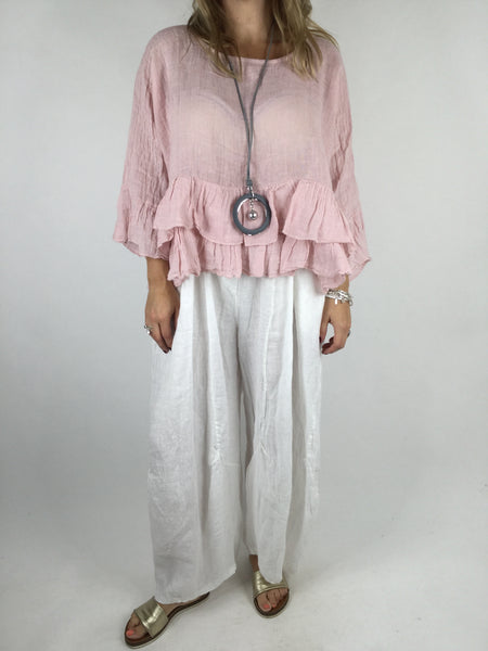 Lagenlook Ruffle Linen Tunic Layering Short Top in Pale Pink .code 4636