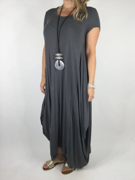 Lagenlook Moda Jersey Tunic in Charcoal Grey. Code 1770