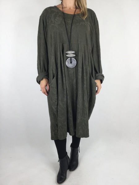 Lagenlook Baroness Tunic In Khaki  Green. code 4712