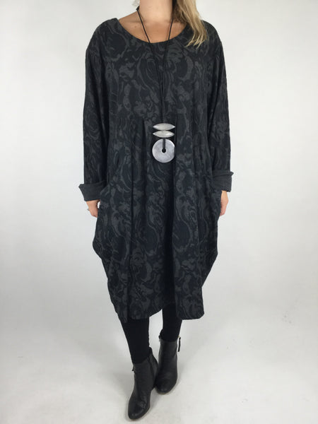 Lagenlook Baroness Tunic In Black Charcoal Grey. code 4712
