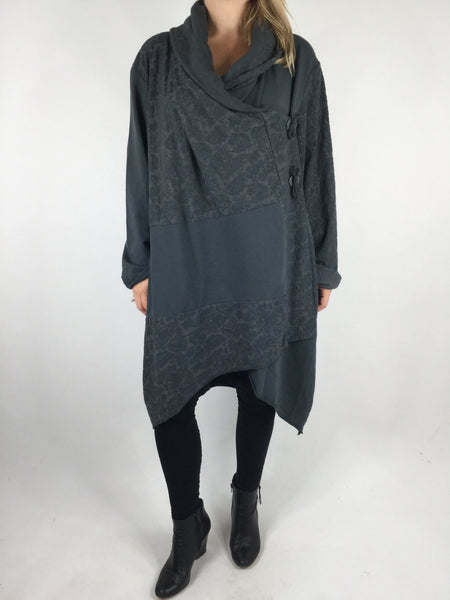 Lagenlook Baro Quirky Cardigan in Charcoal Grey. code 4711
