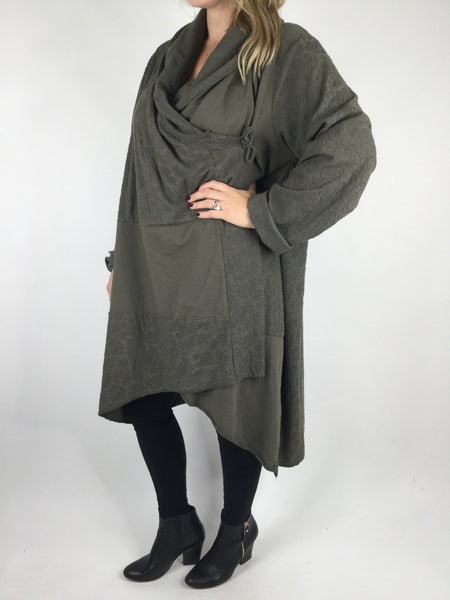 Lagenlook Baro Quirky Cardigan in Khaki. code 4711