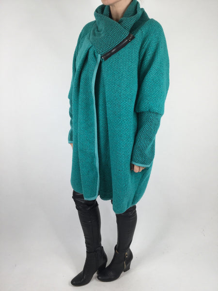 Lagenlook Quirky Coatigan in Turquoise  . code 3097
