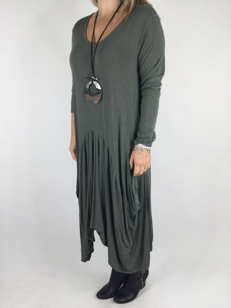 Lagenlook Misha Long Sleeve Jersey in Khaki Green. code 98731