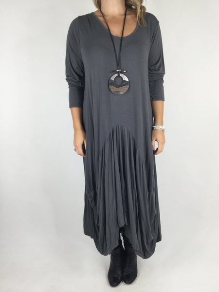 Lagenlook Misha Long Sleeve Jersey in Charcoal Grey. code 98731