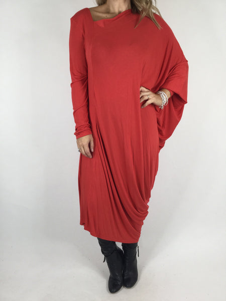 Lagenlook Quirky Angled Jersey Tunic In Red. code 9941