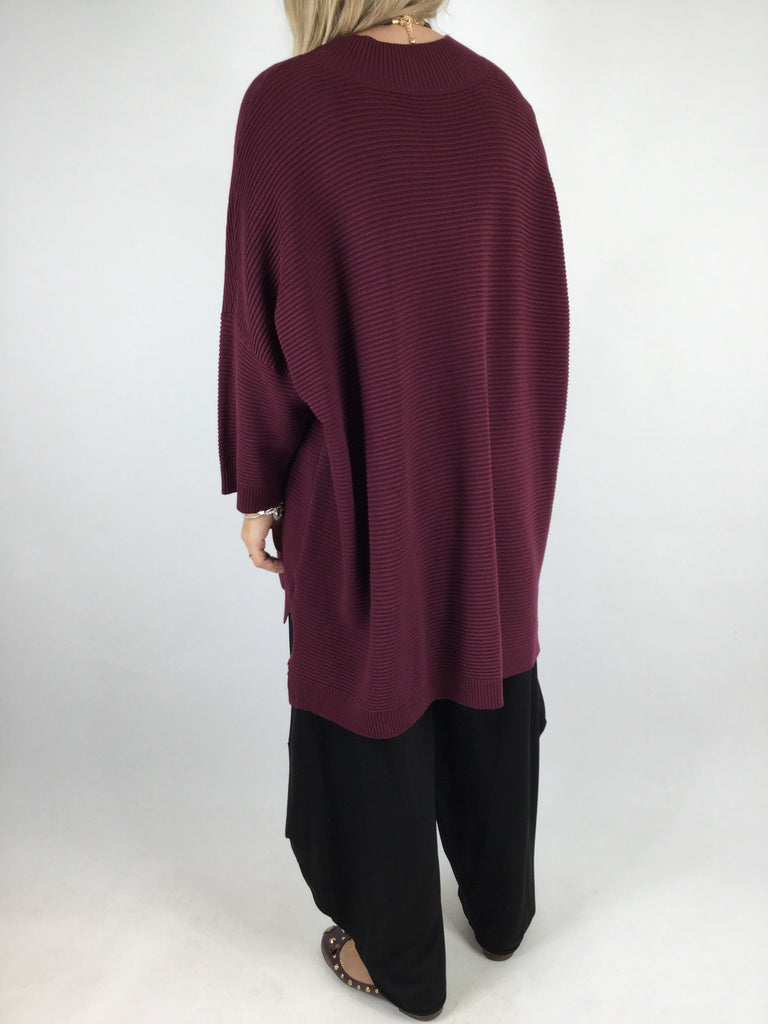 Lagenlook Rib texture jumper in Wine.code 4746