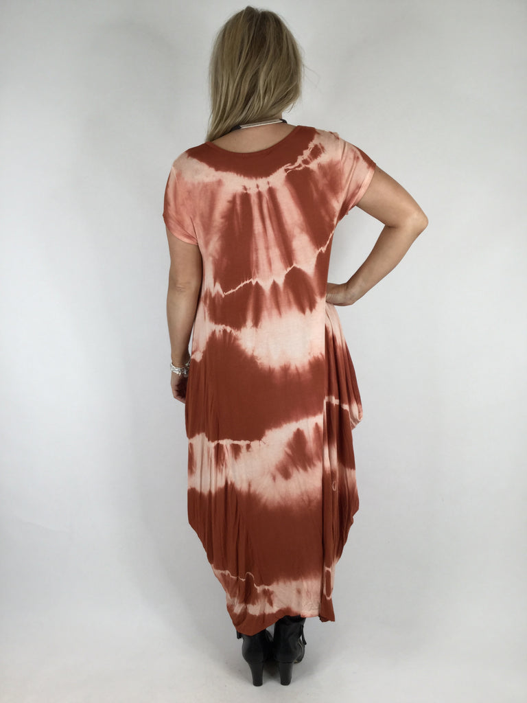 Lagenlook Tye-Dye Tunic in Rust. code 17701