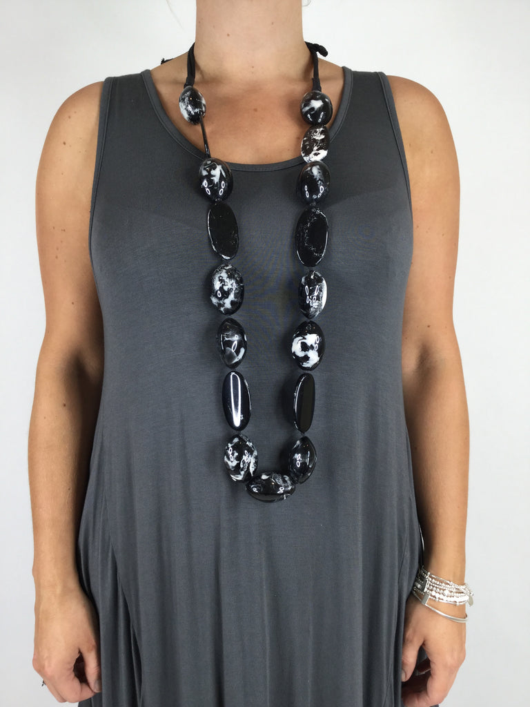 Lagenlook Tribal Black Marble Pod Bead Necklace .Code A0300