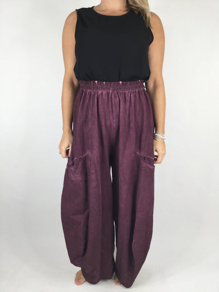 Lagenlook Quirky Cotton Trousers in Wine. code 4758