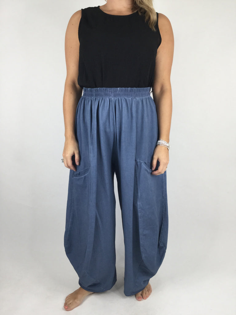 Lagenlook Quirky Cotton Trousers in Denim . code 4758