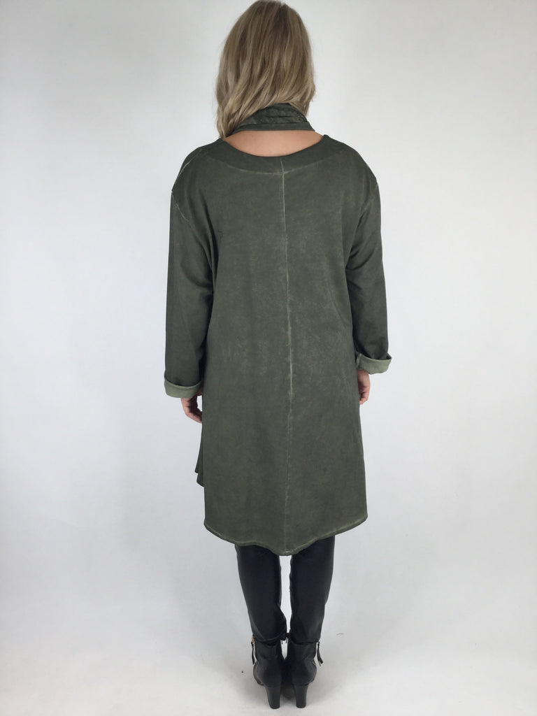 Lagenlook Quirky Butterfly Scarf Tunic in Khaki. code 90687