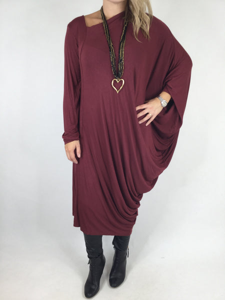 Lagenlook Quirky Angled Jersey Tunic In Wine. code 9941
