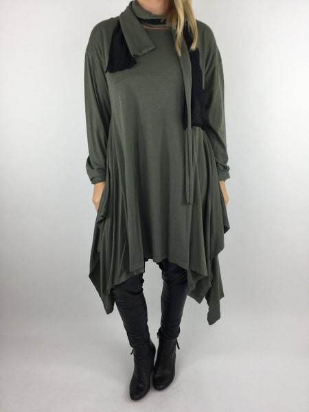 Lagenlook  Layering Tunic Dress with Double Scarf in Khaki. code 3934