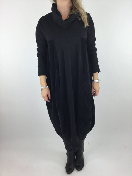 Lagenlook Long Cowl Neck Cord Cocoon Tunic in Black. code 3991