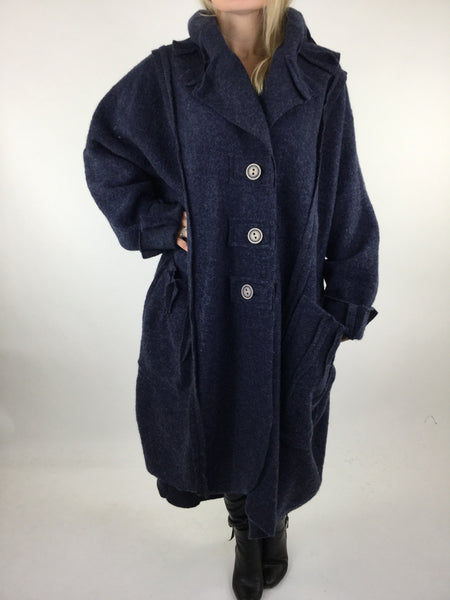 Lagenlook Felt Boho Oversized Coat in Navy. code 5555