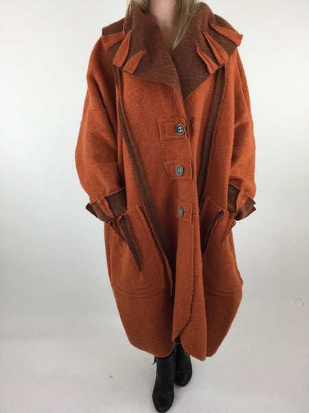 Lagenlook Felt Boho Oversized Coat in Rust. code 5555