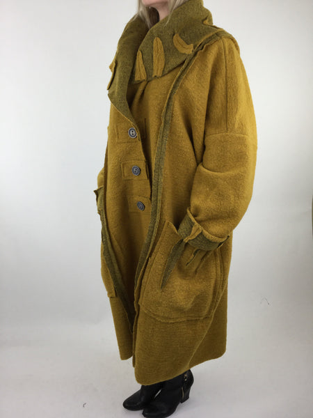 Lagenlook Felt Boho Oversized Coat in Mustard. code 5555