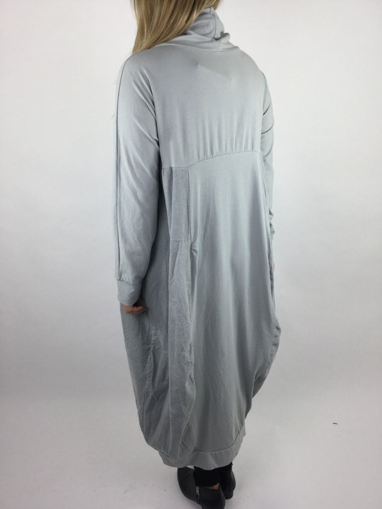Lagenlook Long Cowl Neck Cord Cocoon Tunic in Light Grey. code 3991
