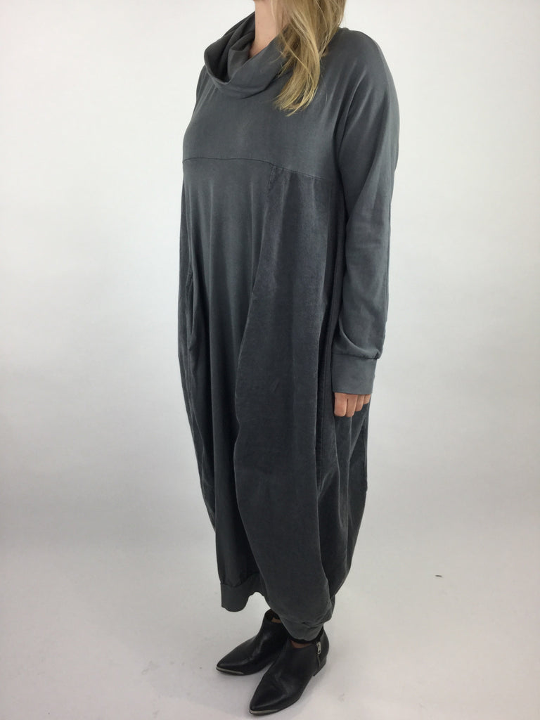 Lagenlook Long Cowl Neck Cord Cocoon Tunic in Graphite Grey. Code 3991